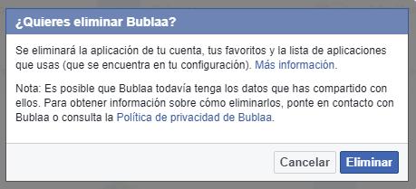 Eliminar aplicación de facebook