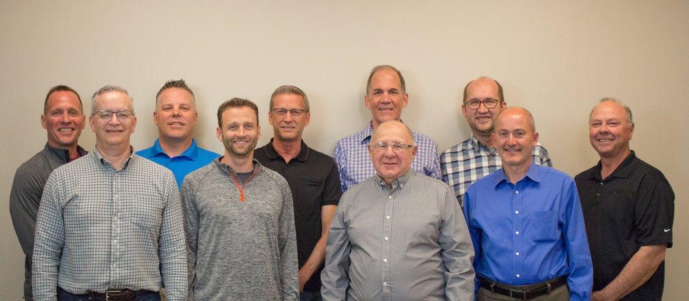 Front row, left to right:   Scott Witzig, Adam Dean, Dwayne Kunz, Tim Pflederer    Back row:    Jeff Schumacher, Jon Stephens, Phil Zobrist, Gary Henricks, Pastor Jonathan Farrell   Not pictured: Brent Yordy