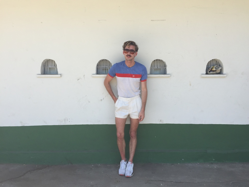 SUNGLASSES: BluBlockers  SHIRT: Vintage  SHORTS: ADIDAS Vintage  SHOES: Nike Air Max 90