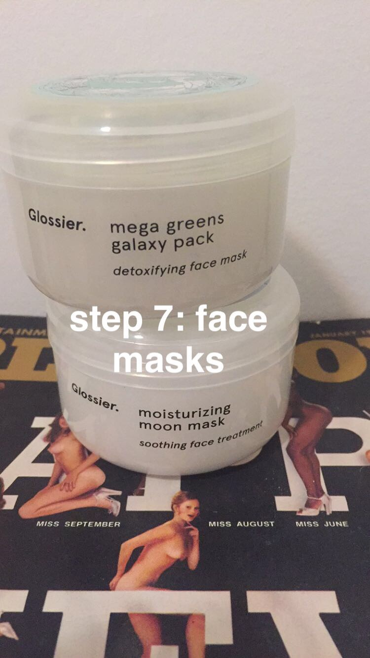 MASKS: GLOSSIER. The green galaxy mask detoxifies, and tingles a bit!, while the moon mask moisturizes, and feels like heaven on earth.