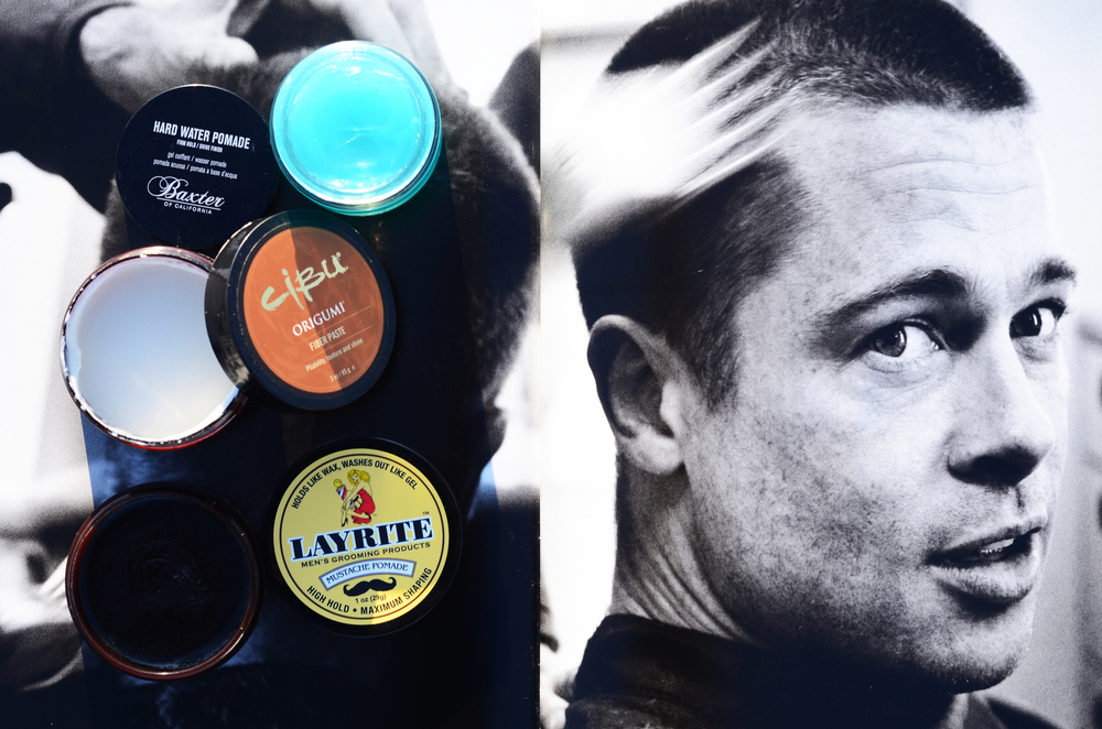Baxter of California Hard Water Pomade, $20; Cibu Paste, $18; Layrite Mustache Wax, $12 on Brad Pitt by Mario Testino