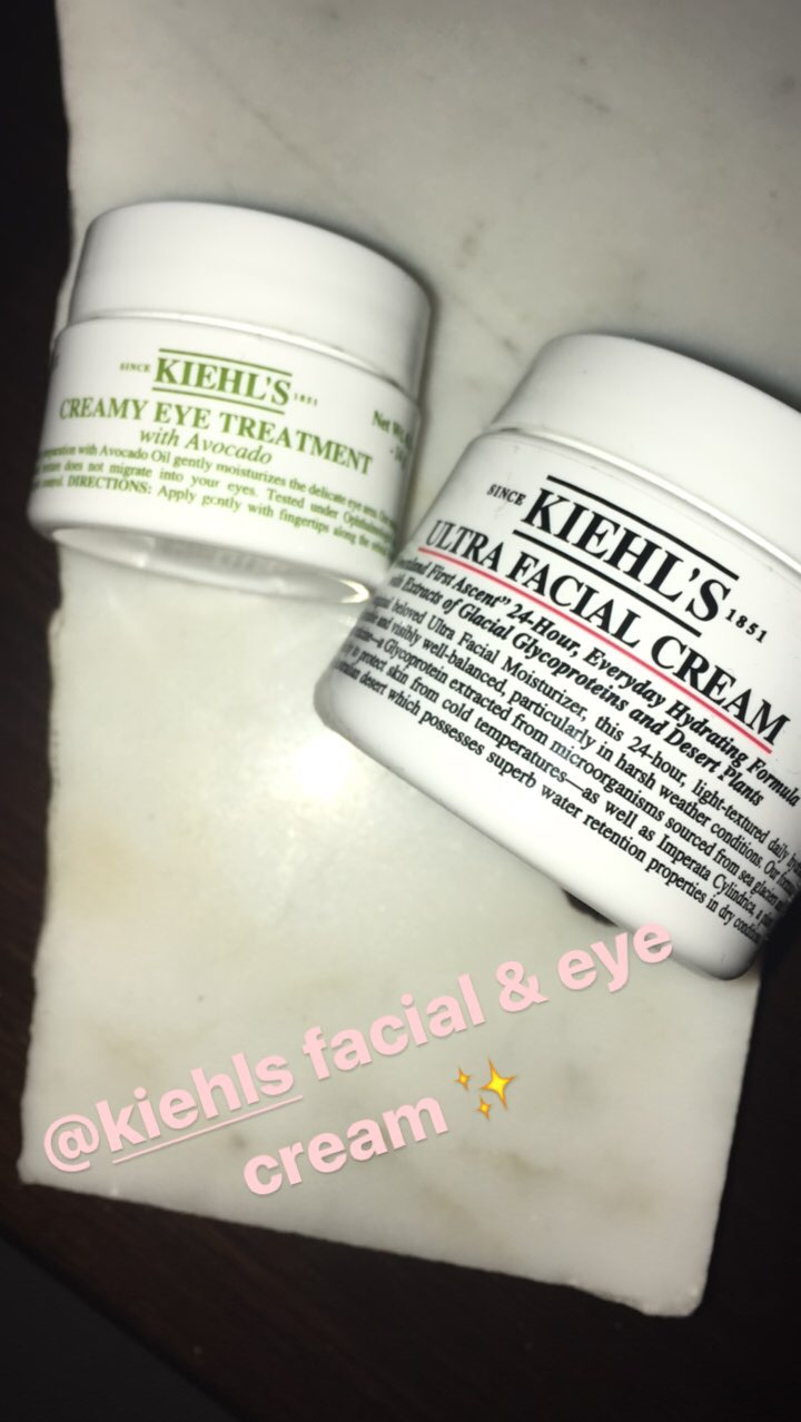 Next, I lather on more moisture. This time with Kiehl's for overnight. I like the Ultra Facial Cream for full coverage and the avocado-based Creamy Eye Treatment.