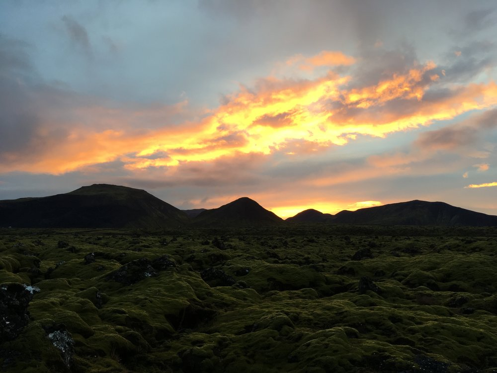 Gorgeous sunset over volcanic runoff fields