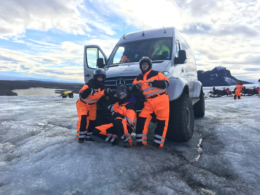 The crew and Arctic Adeventure van on Langjokull Glacier