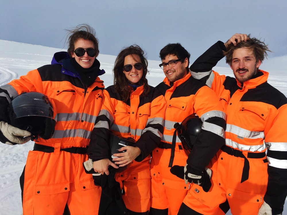 The crew. In orange jumpsuits, on a glacier. PRICELESS