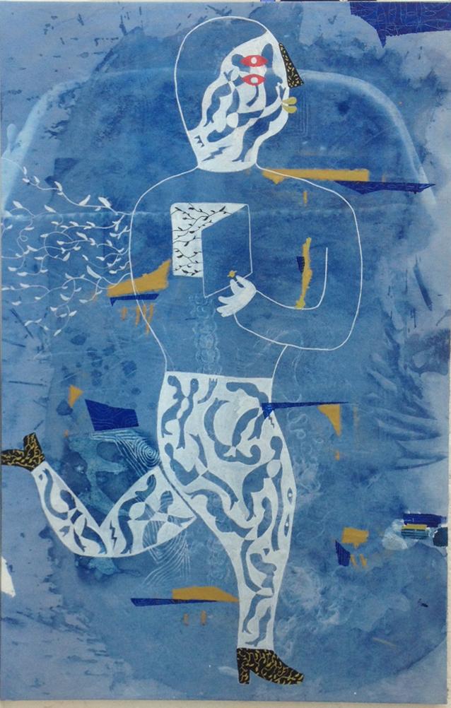 St.2016 Mixto Acrílico, cianotipia y spray/lienzo 122 x 80 cm