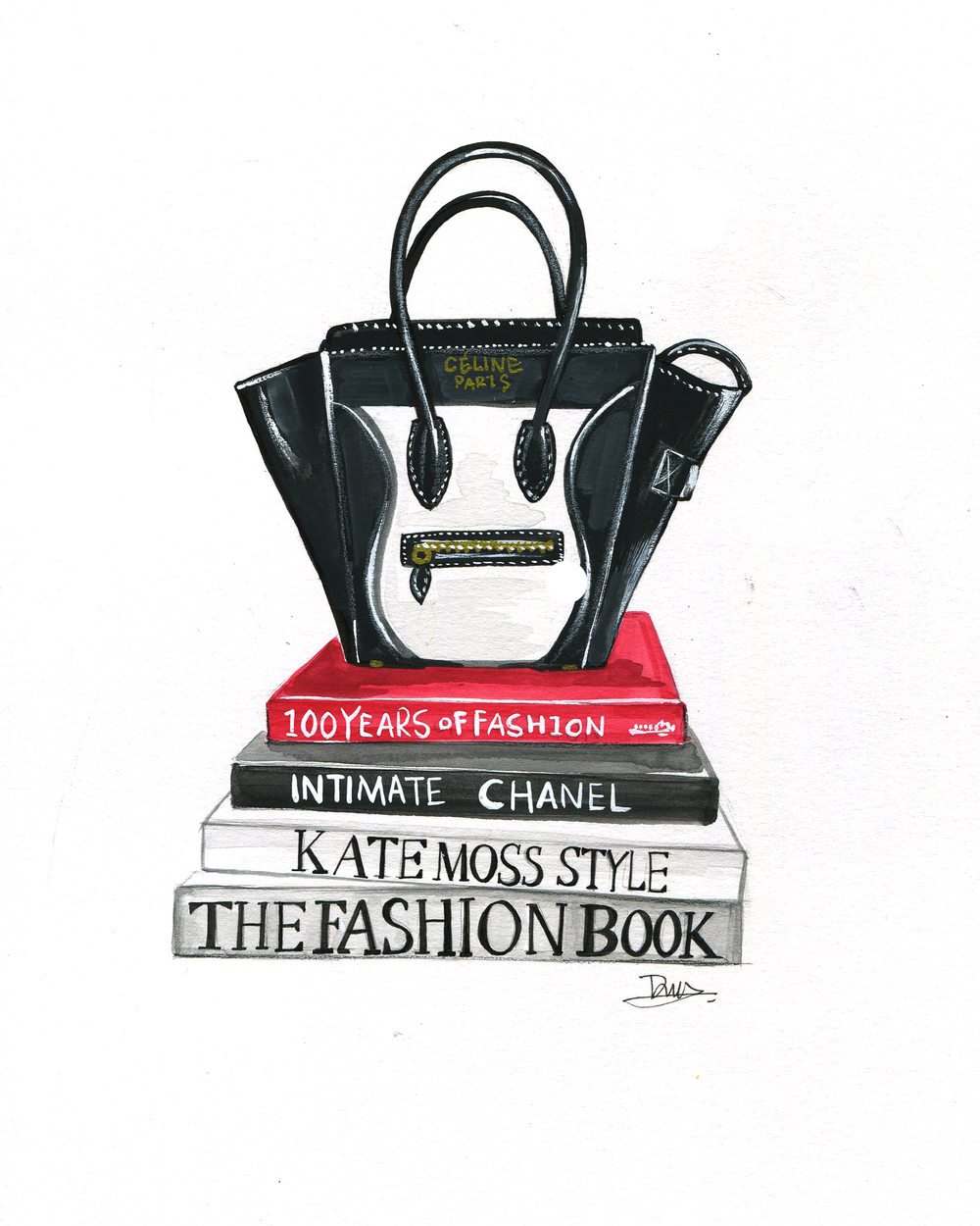 Celine bag illustration by fashion artist Rongrong DeVoe
