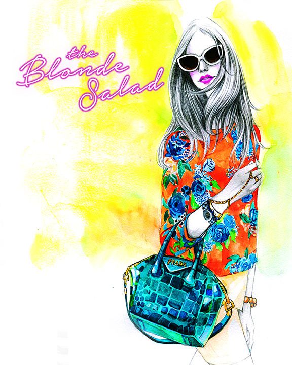 fashion illustration of The Blonde Salad by Rongrong DeVoe