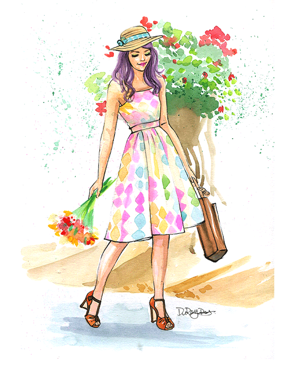 watercolor fashion illustration of Mod Cloth by Houston fashion illustrator Rongrong DeVoe