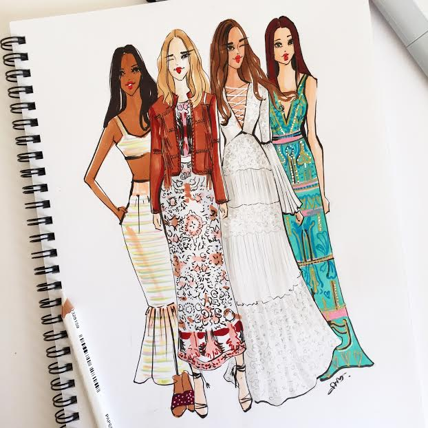 Fashion Illustration of Rachel Zoe SS16 collection during NYFW by Houston fashion illustrator rongrong devoe-1