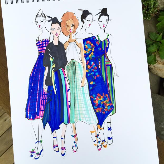 Houston fashion illustrator Rongrong DeVoe sketch Tanya Taylor ss16 collection