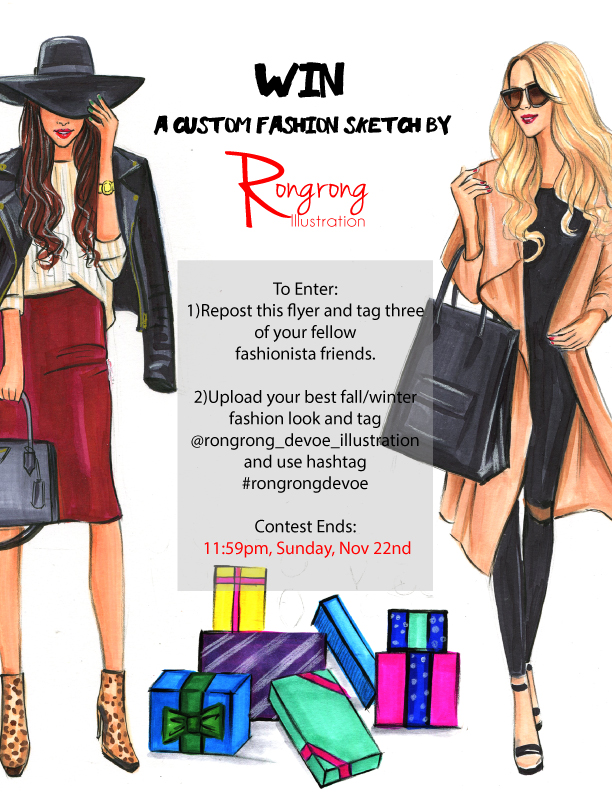 Giveaway contest of a Custom fashion sketch by Rongrong DeVoe
