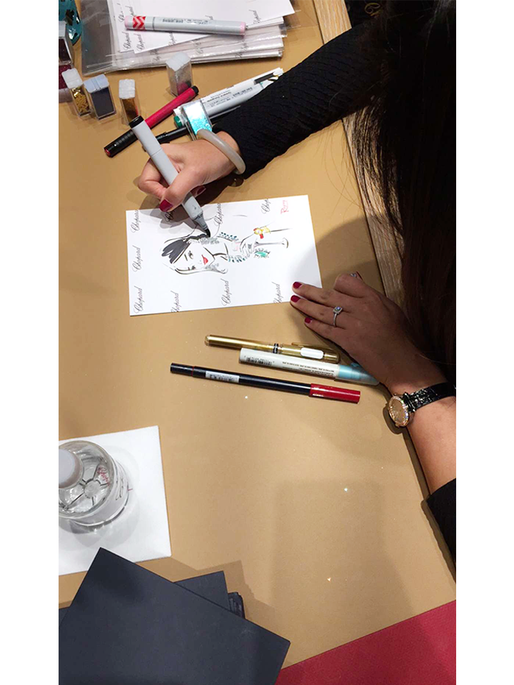 Fashion live sketch event by Houston fashion Illustrator Rongrong DeVoe at Chopard event