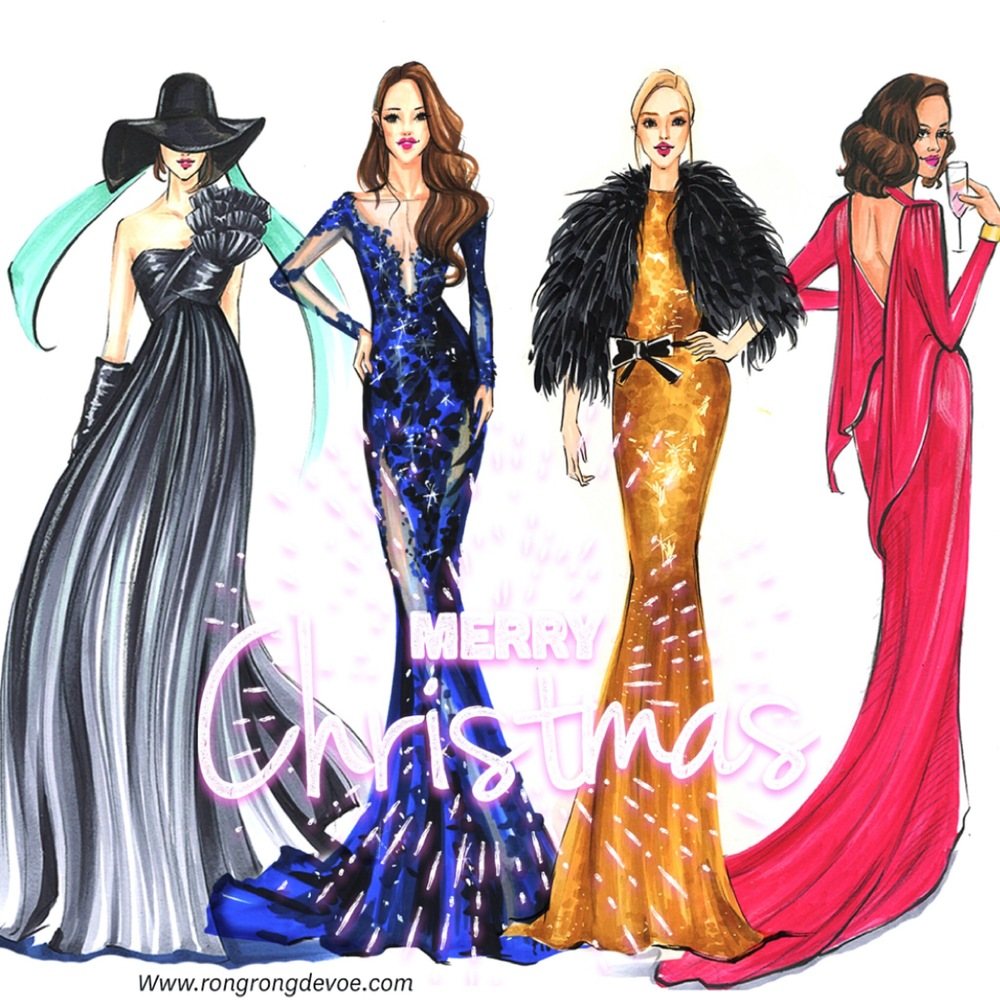 Fashion Illustrations To Celebrate Christmas And New Year