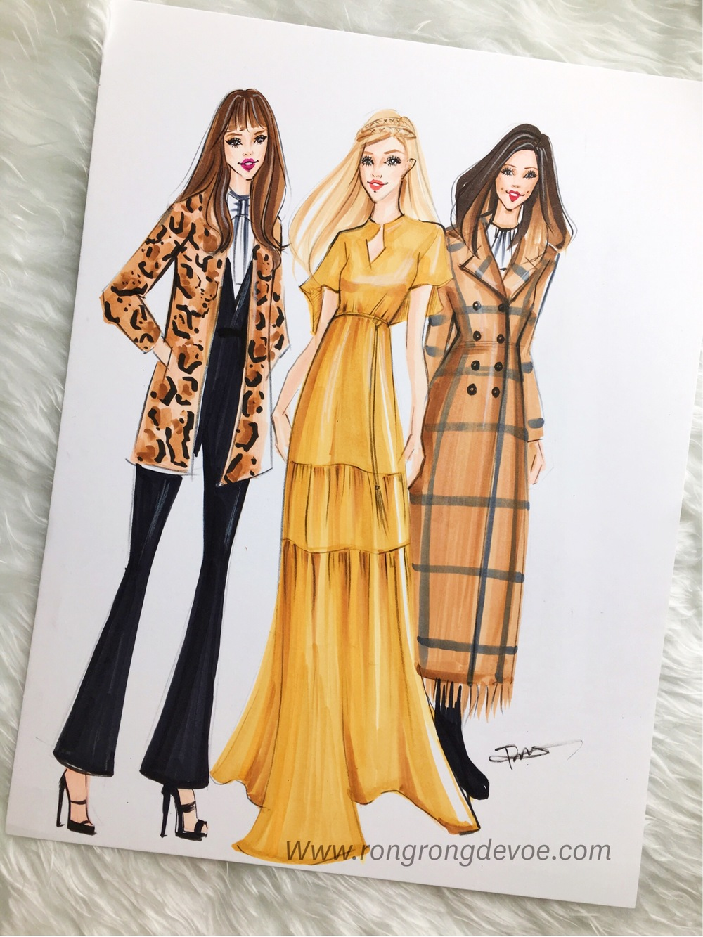 Fashion Illustration of Rachel Zoe's Pre Fall 2016 Collection