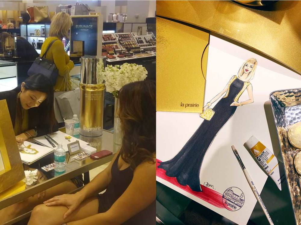 Live-sketch-at-La-Pariarie-beauty-event by Rongrong DeVoe