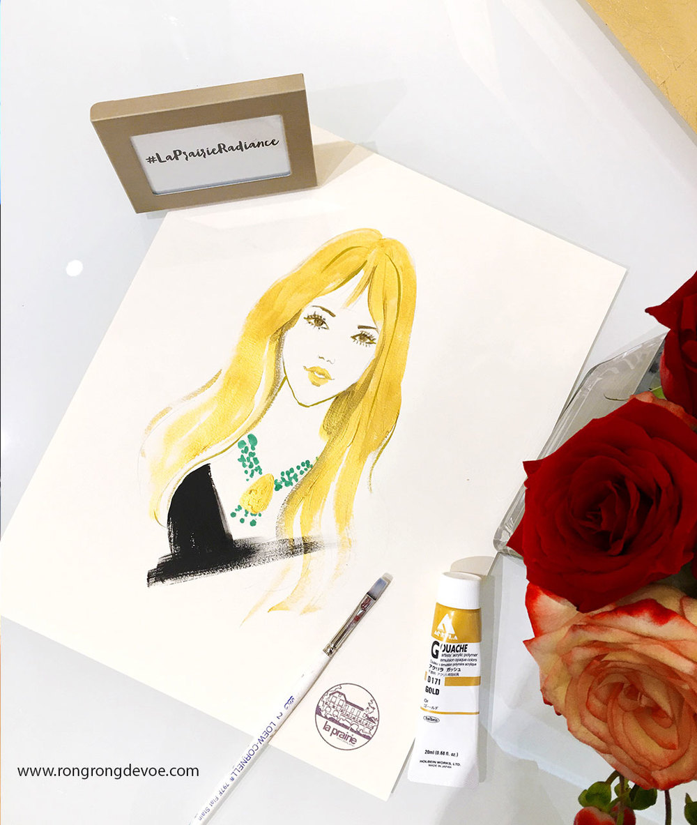 La Prairie live sketch event at Neiman Marcus San Diego by-fashion-illustrator-Rongrong-DeVoe--1