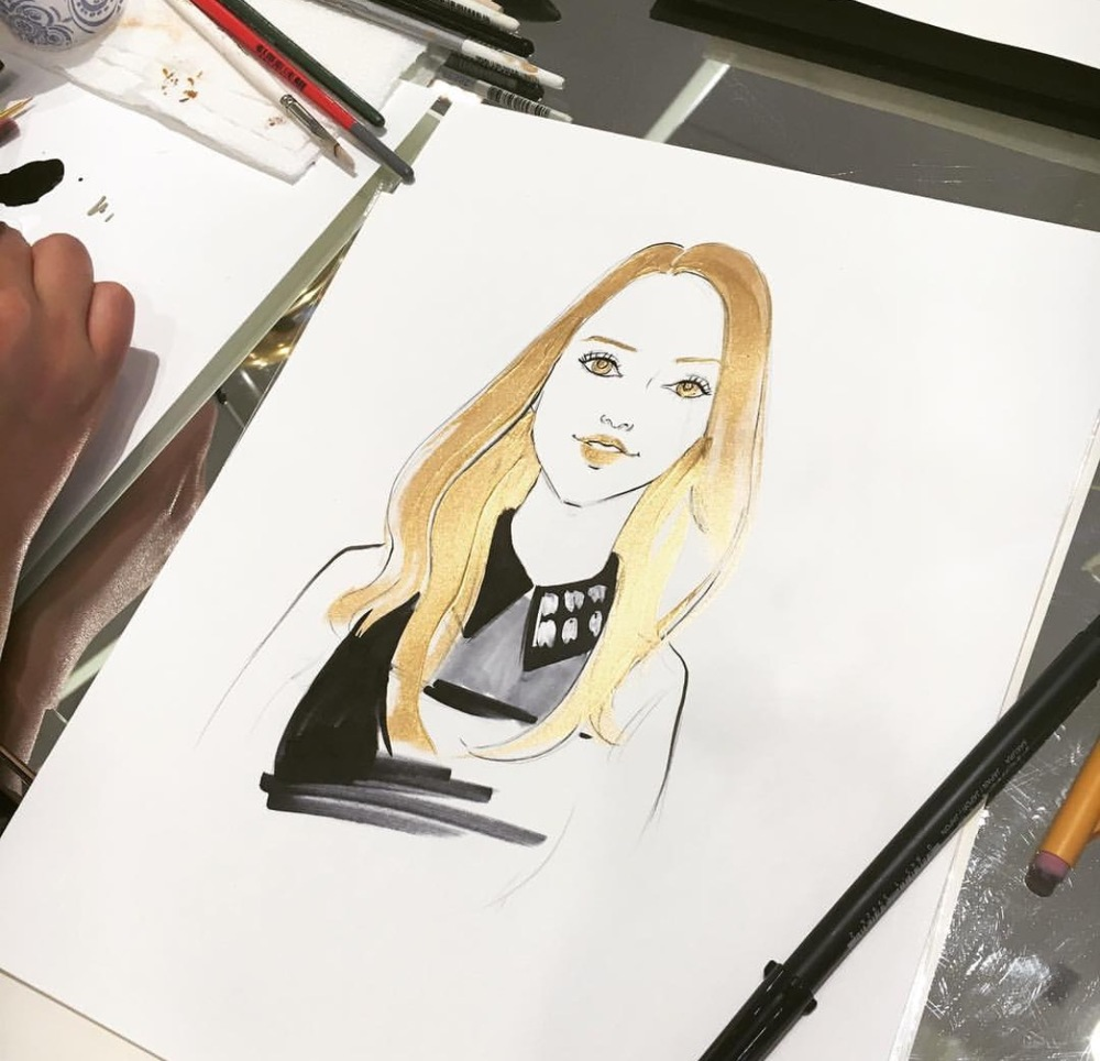 La-Prairie-live-sketch-event-at-Saks fifth avenue-Chicago-by-fashion-illustrator-Rongrong-DeVoe--2