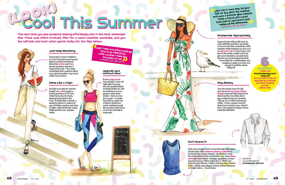 Fashion illustration for Houstonia Magazine By Houston fashion illustrator Rongrong DeVoe