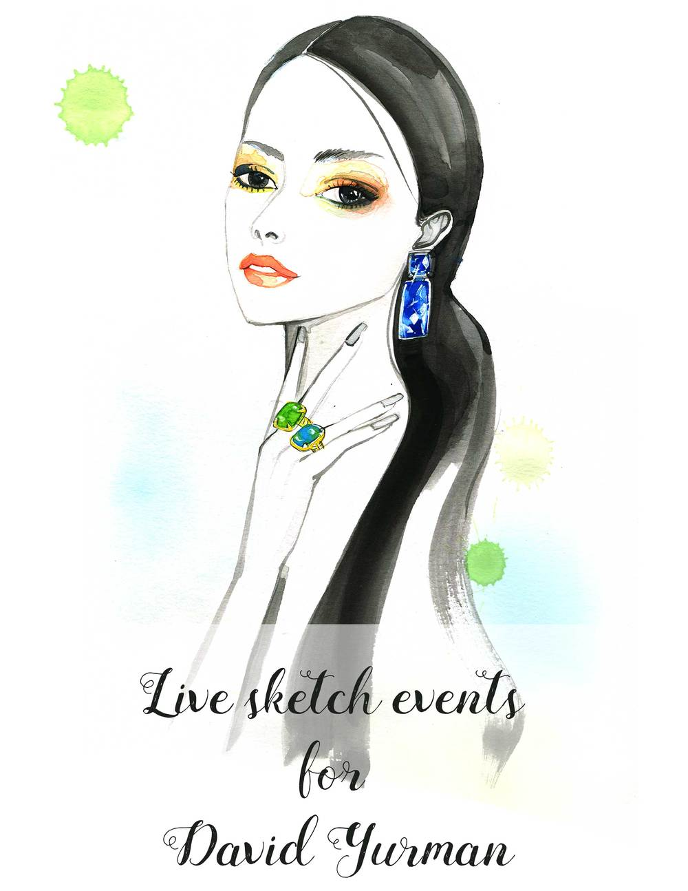 Fashion illustration for DaVid Yurman by Fashion Illustrator Rongrong DeVoe