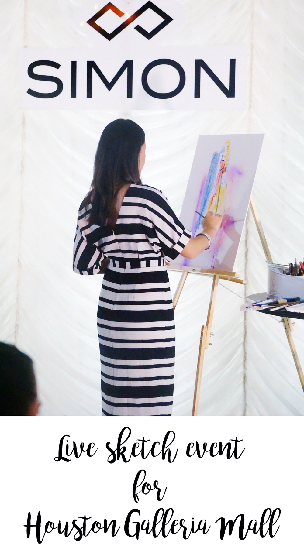 Live sketch at Fashion bloggers party by Houston fashion illustrator Rongrong DeVoe for Houston Galleria Mall