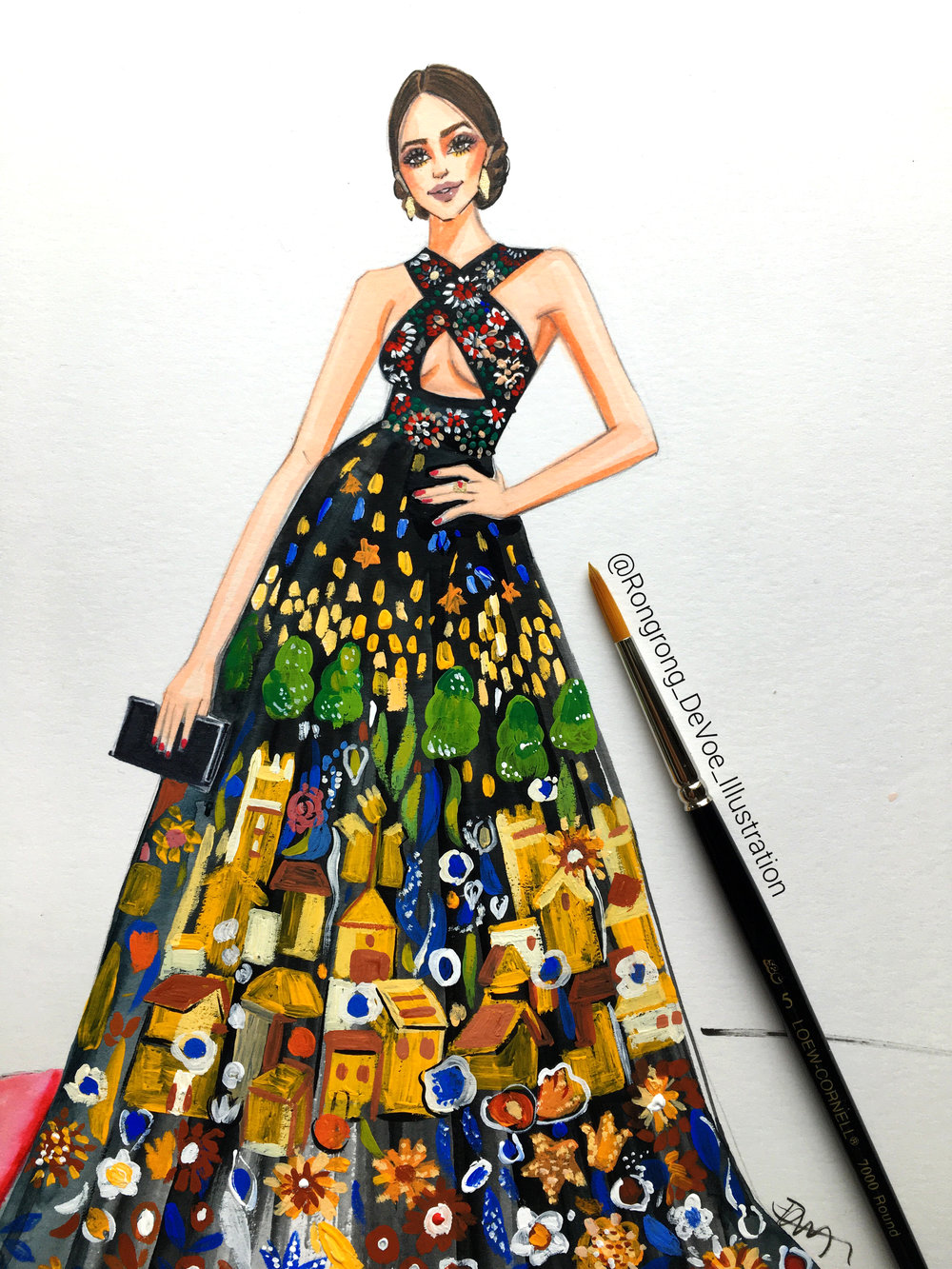 Fashion illustration of Olivia Culpo in Zuhair Murad gown at Golden Golbes 2017