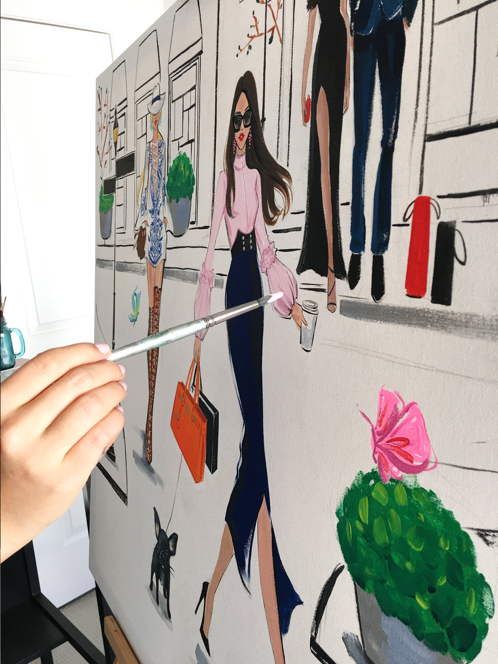 Details Fashion painting for River Oaks District by freelance fashion illustrator Rongrong DeVoe