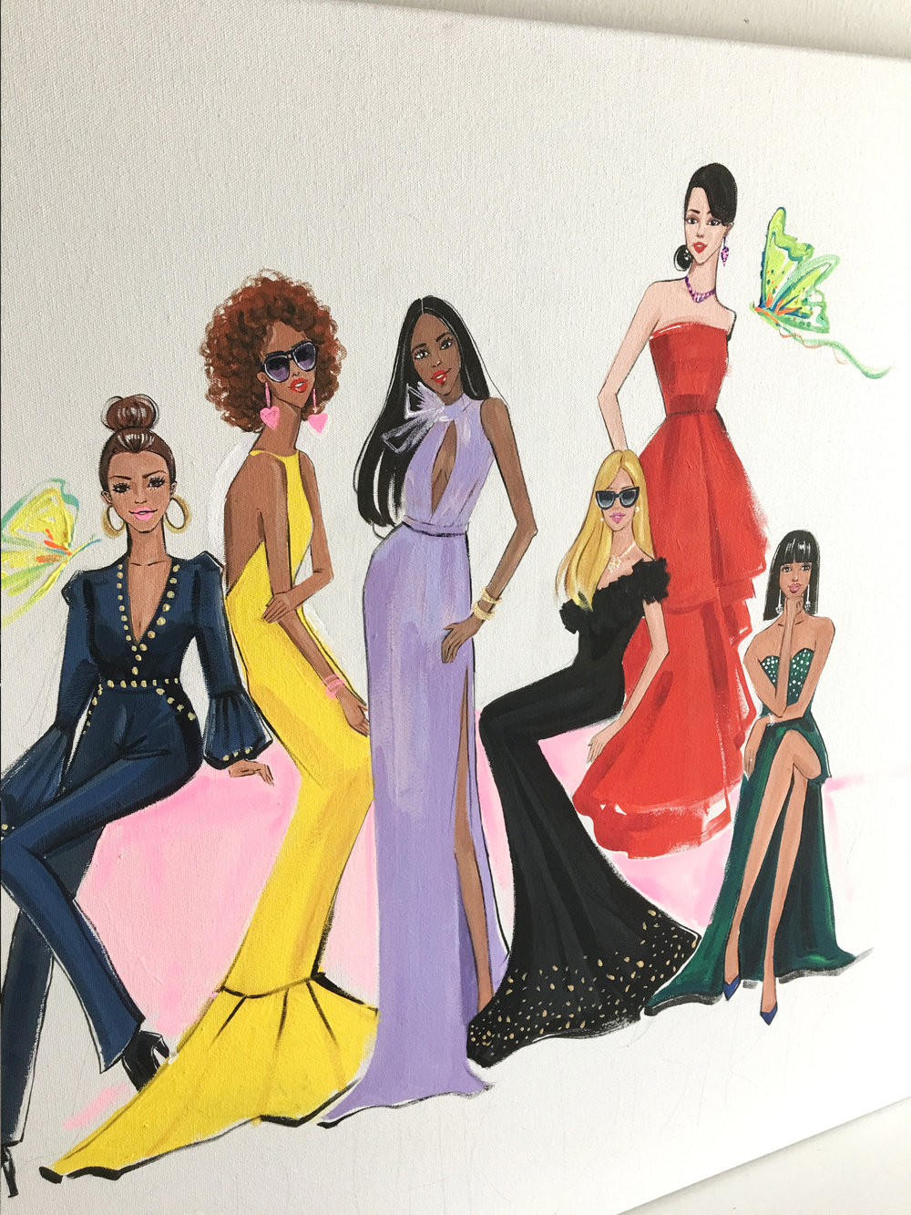 Fashion painting for River Oaks District by freelance fashion artist Rongrong DeVoe