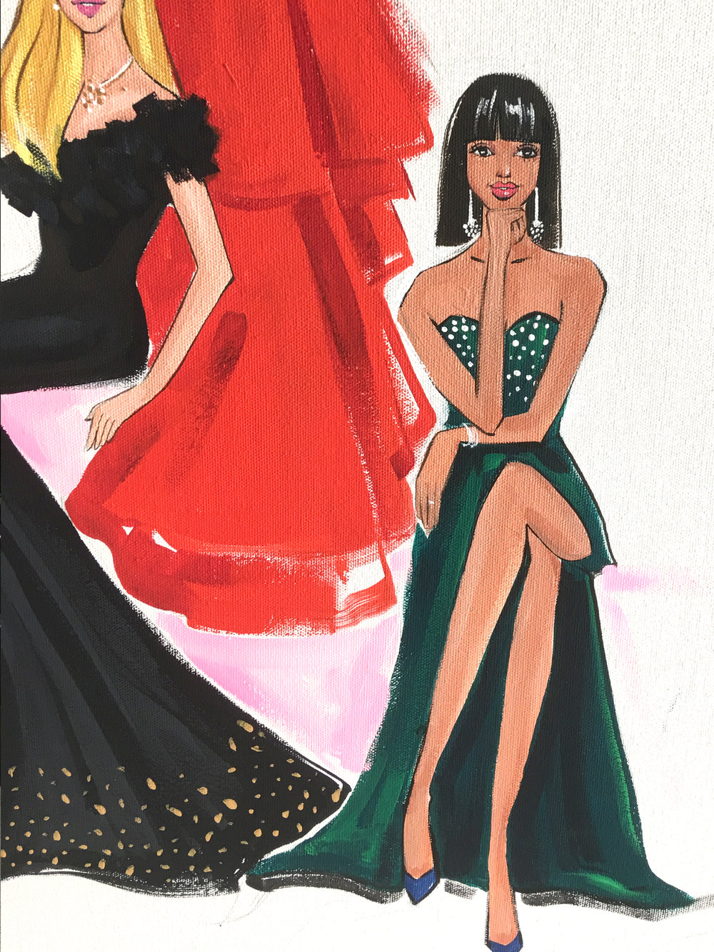 Close up Fashion painting for River Oaks District by freelance fashion illustrator Rongrong DeVoe