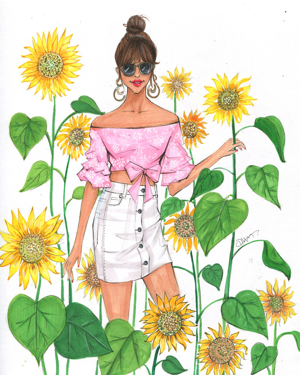 Fashion Illustration named Sunflower field