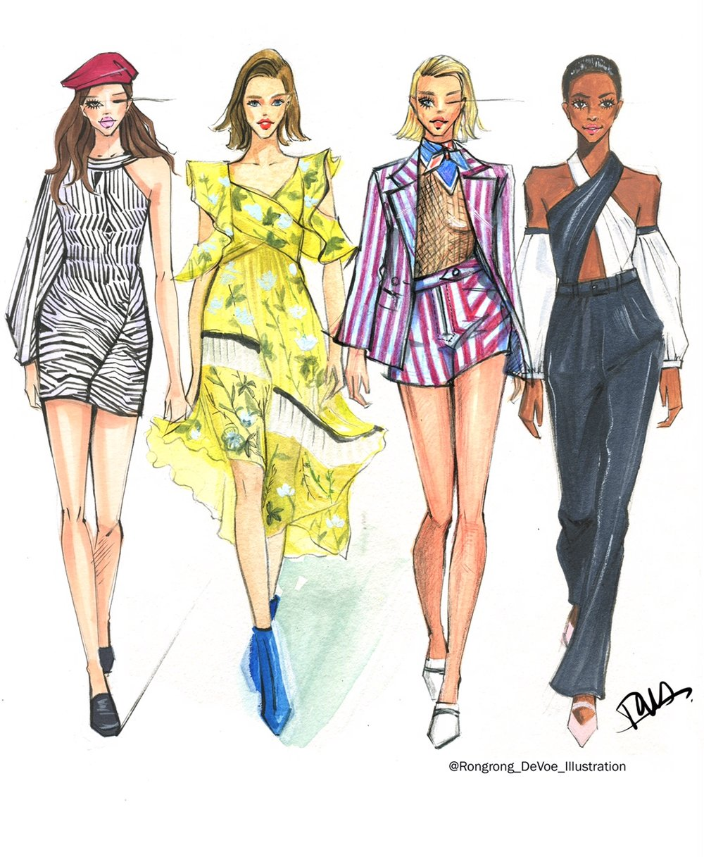 Rongrong DeVoe fashion sketches-Self Portrait SS18 New York Fashion Week.JPG