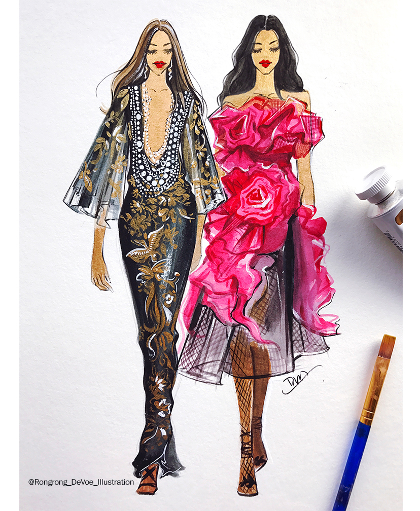 Rongrong DeVoe- fashion illustration Marchesa SS18 collection.jpg