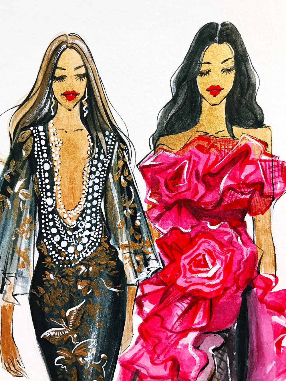 Rongrong DeVoe- fashion illustration Marchesa SS18 collection in details.jpeg