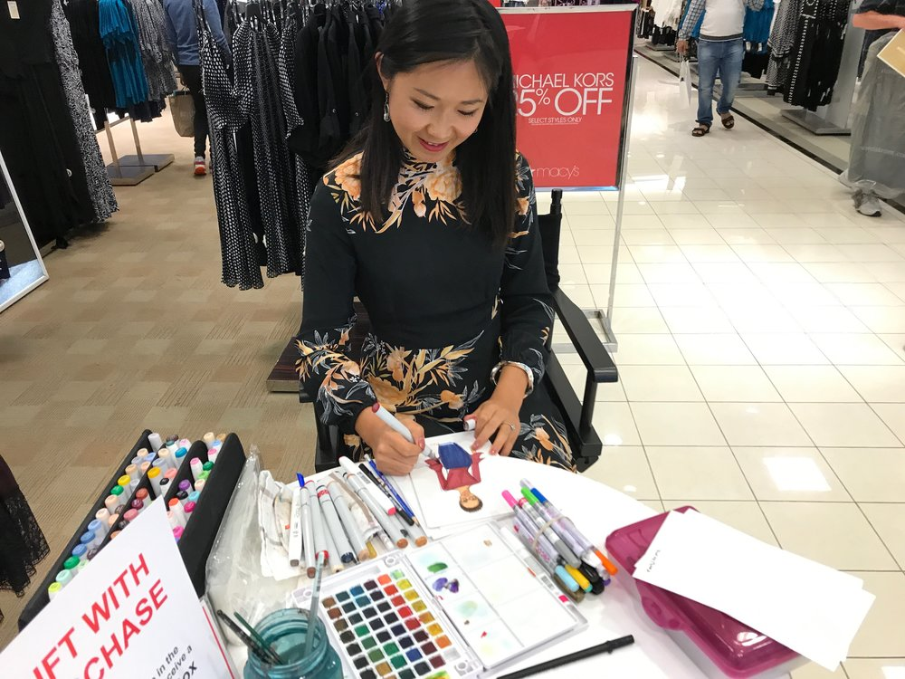 Rongrong DeVoe-fashion illustrator live sketch customized portrait at Macy's fall fashion event.jpeg