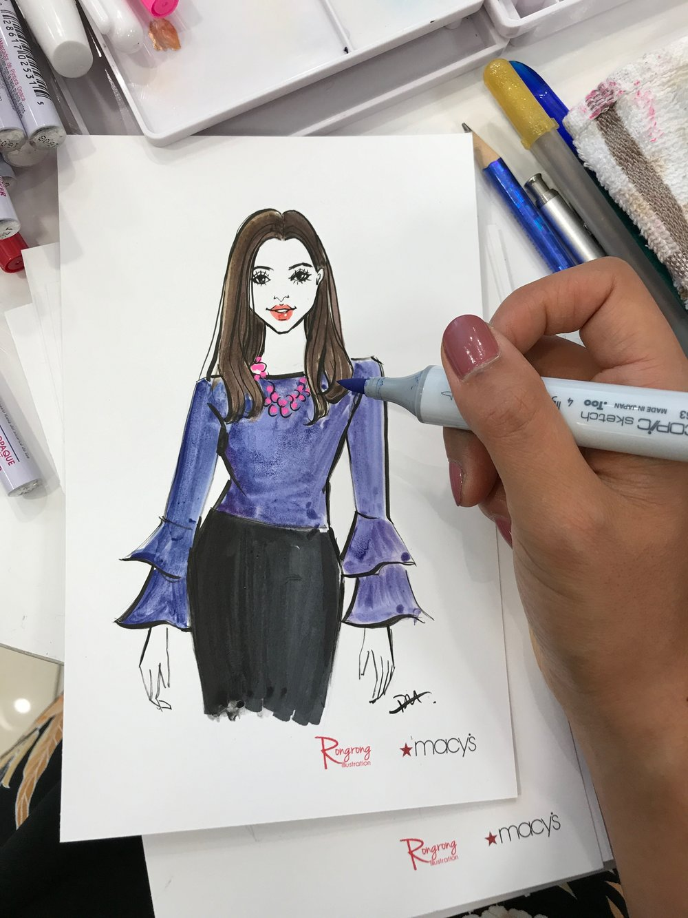 Rongrong DeVoe-live sketch artist doing live sketching at Macy's Fall Fashion Event.jpeg