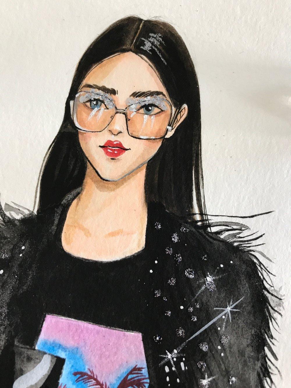 Rongrong DeVoe's Beauty Illustration of francesco scognamiglio SS18 Milan fashion week.JPG