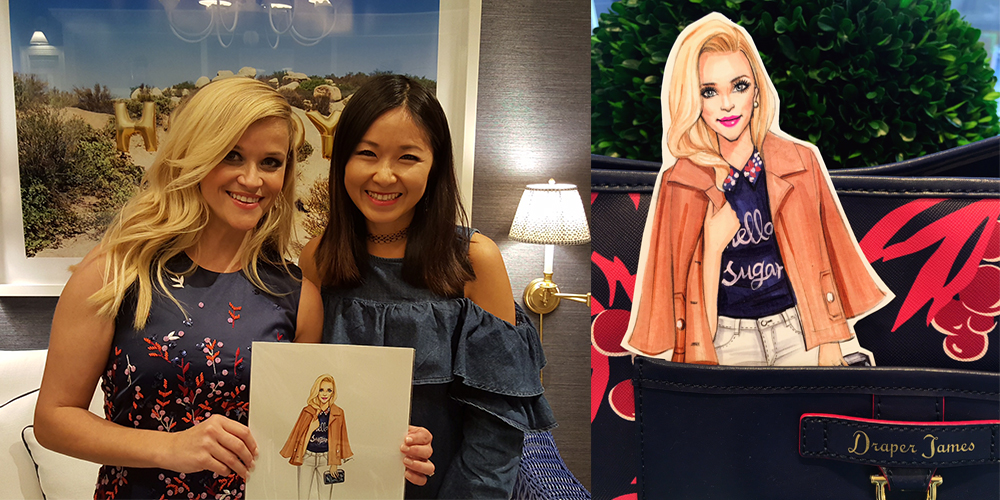 Live sketching at Reese Witherspoon clothing brand Draper James, Dallas, TX