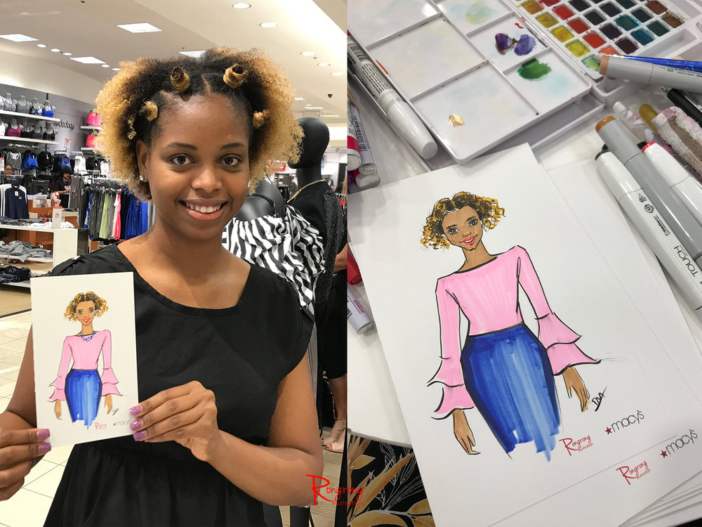 Rongrong DeVoe live event drawing at Macy's Fall fashion event.JPG