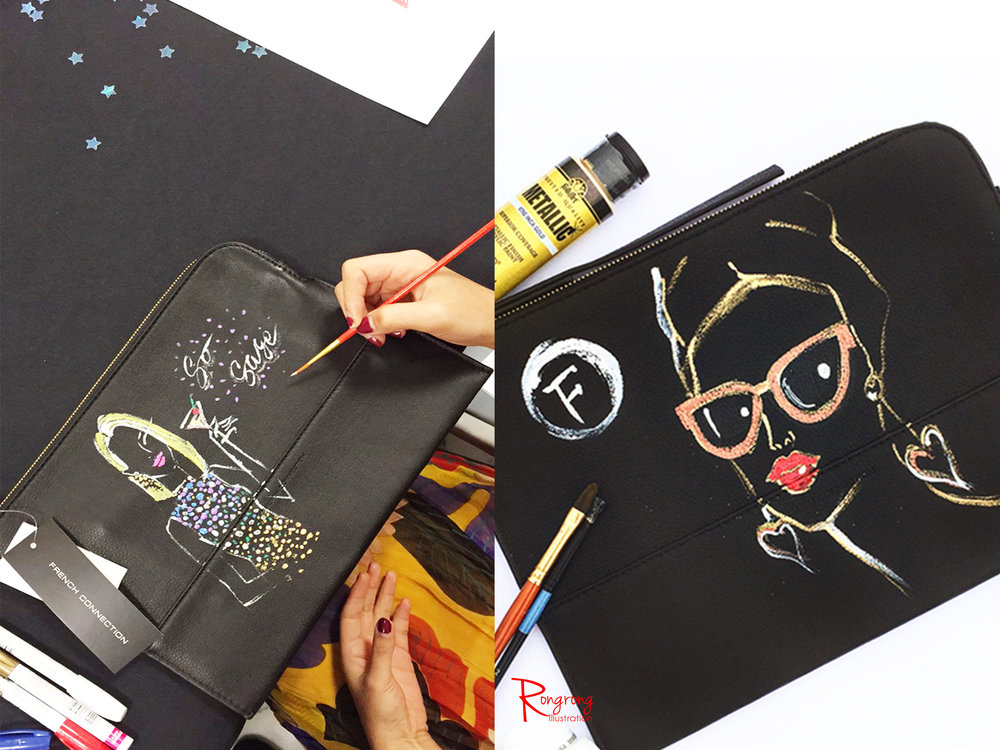 Rongrong DeVoe live painting on cosmetic bag at French Connection event.JPG