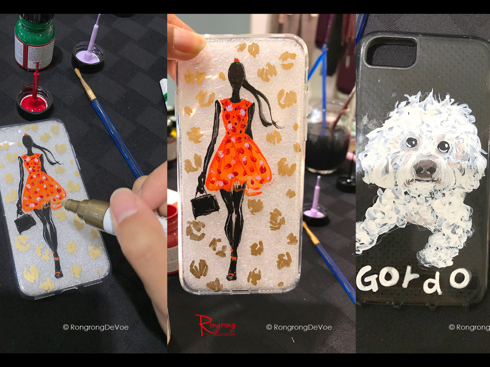 Rongrong DeVoe Live painting on phone case at Marciano Dallas Galleria.jpg