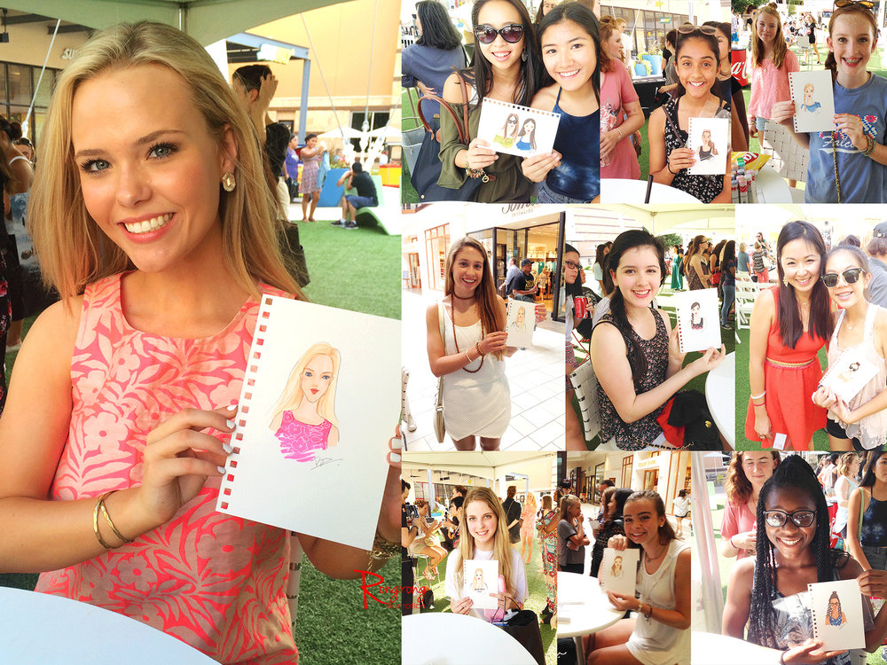 Fashion and beauty illustrator Rongrong DeVoe live event drawing at Teen Vogue event in Austin Simon Mall.jpg