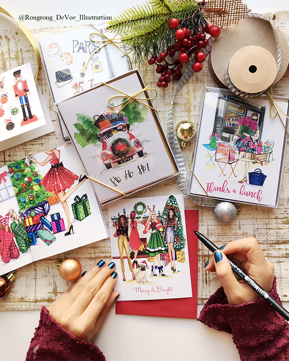 Christmas cards design by fashion illustrator Rongrong DeVoe.png