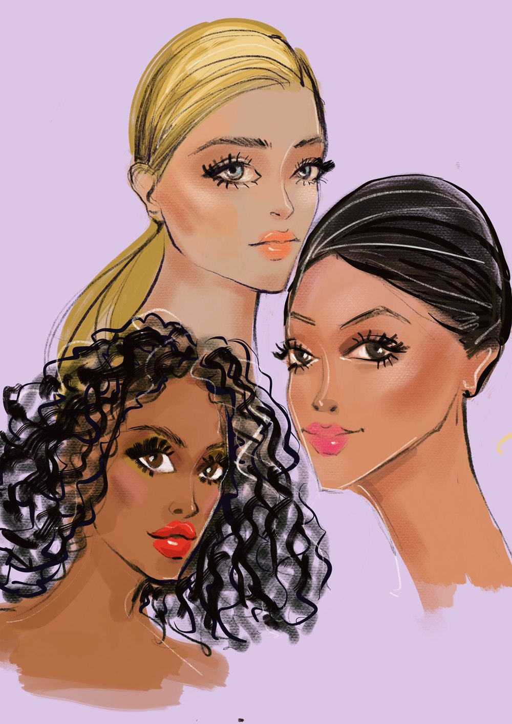Beauty Illustration at Backstage fashion week by Rongrong DeVoe use Procreate and Ipad Pro.JPG