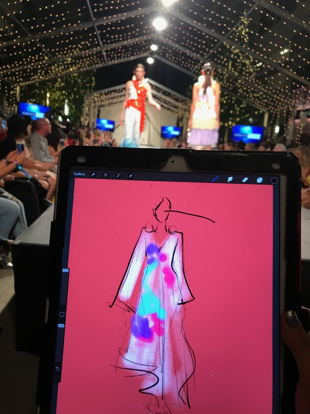 Rongrong DeVoe live sketch runway at FashionxHouston.JPG
