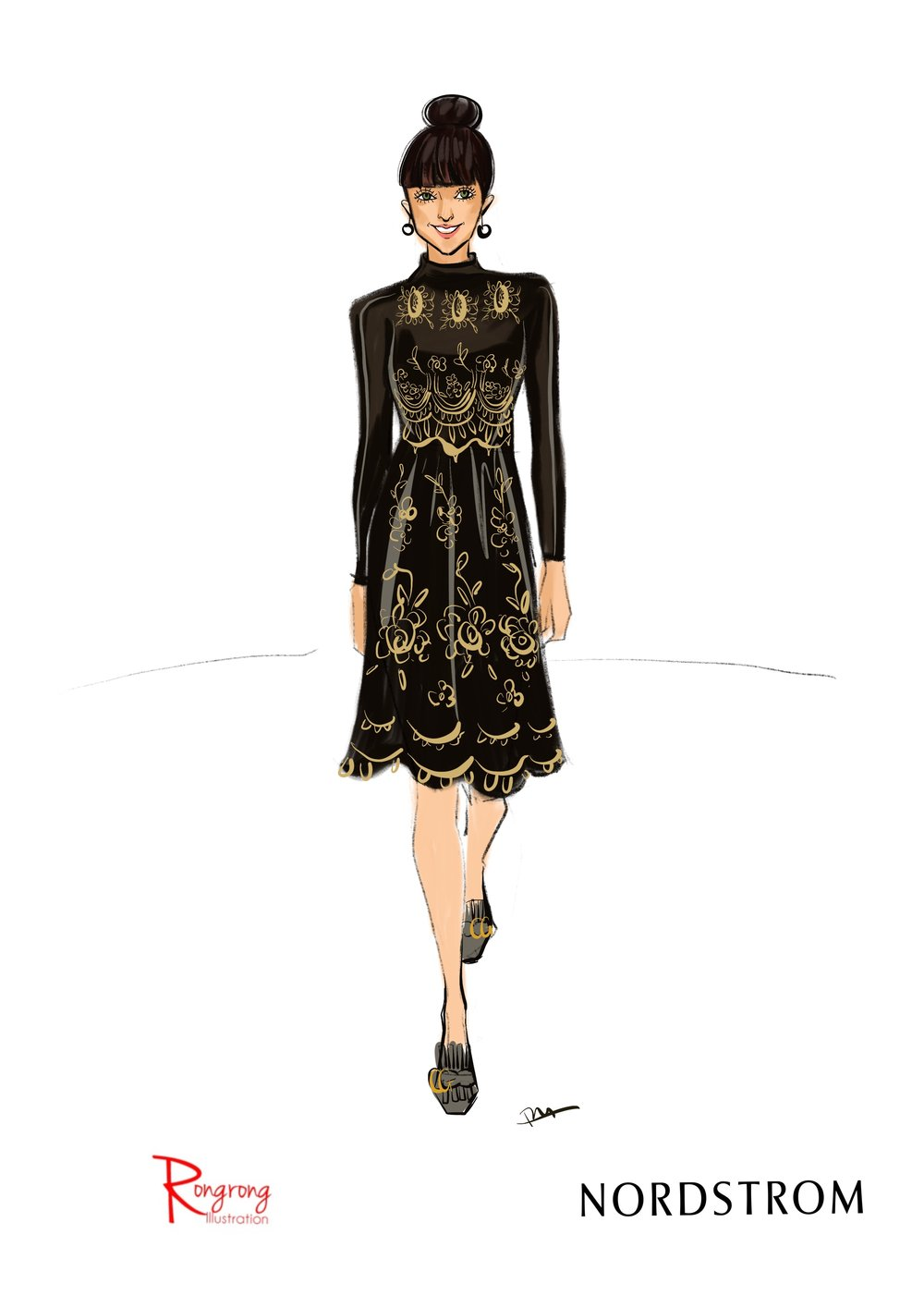 Rongrong DeVoe live sketching at Nordstrom Dallas fashion event.jpg