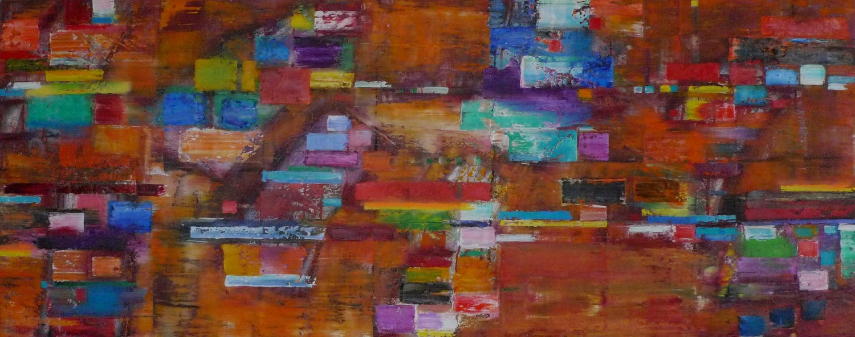 'Pieces of Eight' Oil & Spray Paint on linen, 60 cm x 150 cm, 2016