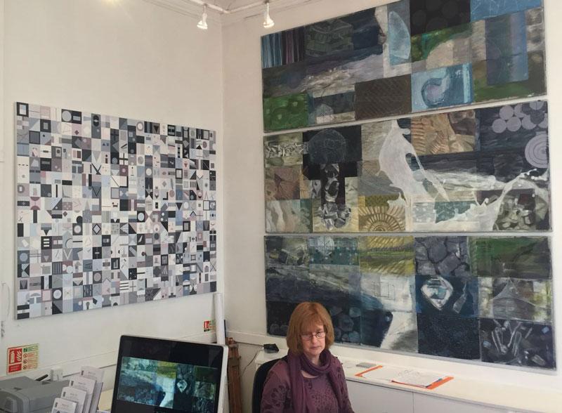 Left, 'Calendar 2013', Oil on Linen, 130cm x 170cm, 2013 Right, 'Sum of Parts' triptych 2015, Oil & Spray Paint on linen, each panel 168cm x 76.2cm Laptop,'Sum of Parts' triptych film 2015