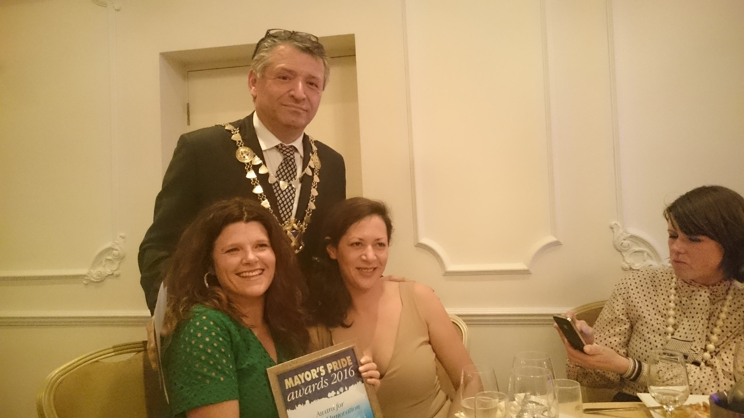 Catherine Fenton with colleagues at the Mayor's Pride Awards, March 2016