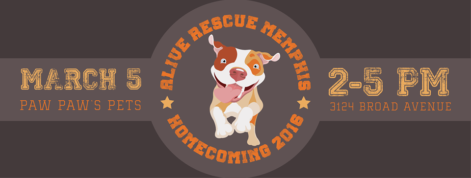 ALIVE Rescue Memphis is having our first annual HOMECOMING PARTY to celebrate dogs who we have adopted out since our inception!    We will have food & drinks (of the adult variety) on hand. The first 30 attendees will leave with a goody bag for themselves and their pets. We will also have a raffle with prizes that are people and dog friendly.    There will be outdoor and indoor play for all dogs that attend. Little dogs will be in their own p  lay area. If the weather is nice, we will have swimming pools for the dogs to cool off in.  Children are welcome to attend. We will have free face painting and henna tattoos from  Pain't It Cool Body Art . (Tips Appreciated)  We will also have a photgrapher present, so you can get a photograph with your adopted or foster pup.   Cost: $10.00 Suggested Donation per person (pups are free).  RSVP: Tell us you're coming by sending a quick e-mail to ranise@aliverescue@gmail.com