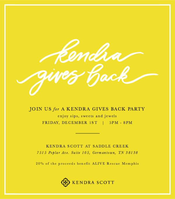Come join us and some of our amazing adoptables at Kendra Scott! They will be donating 20% of their proceeds during this time straight to ALIVE Rescue Memphis!! This is a fantastic opportunity to support your favorite rescue, all while getting some holiday shopping done, or just doing some shopping for yourself! Kendra Scott will also be providing drinks and sweets for guests to enjoy! Join us and get your glitter on!!